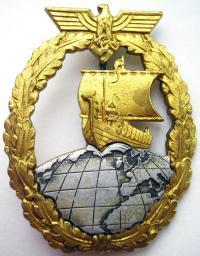 Военный знак вспомогательных крейсеров с накладным глобусом